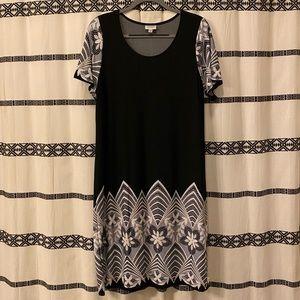 Avenue Lace Print Black Dress
